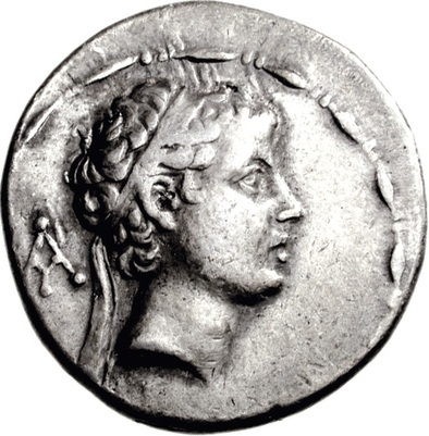 Antiochus V, Seleucid King, reigned 164-161 B.C.E.      (Photo: Classical Numismatic Group, Lancaster, PA)