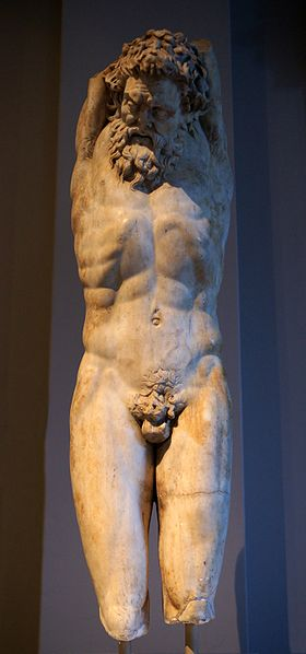 Marsyas, ca. 200-150 B.C.E.,  Roman copy of Greek original, Istanbul Archaeological Museums, Inv.  400T,   (Photo: Sandstein, 2010, Wikipedia)