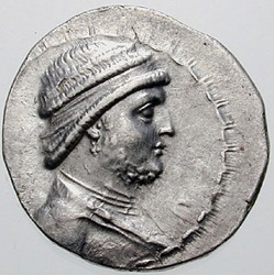 Mithridates II, King of Parthia, ca. 123-88 B.C.E.   (Photo: Classical Numismatic Group, Lancaster, PA)