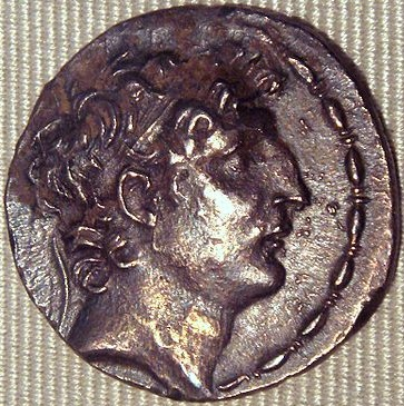 Antiochus VIII Grypus, Seleucid King, reigned 125-96 B.C.E.,     Cabinet des Medailles, Bibliothèque nationale de France, Paris  (Photo: PHGCOM, Wikipedia)