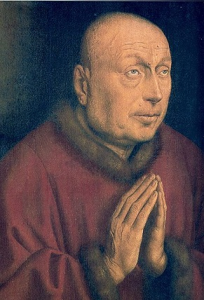 Joos Vijdt, 1432, detail of full-length donor portrait from the Ghent Altarpiece (Jan van Eyck) (1387-1441) Sint Baafskathedraal, Ghent