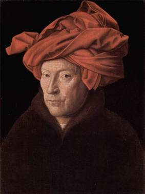 A Man, possibly a self-portrait, 10/21 1433 by Jan van Eyck, 1387-1441 National Gallery, London NG 222