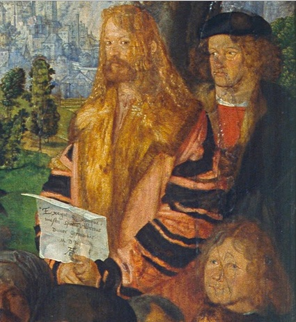 Self-Portrait with two men 1506 detail from Feast of Rose Garlands by Albrecht Durer  1471-1528 National Gallery Prague O1552
