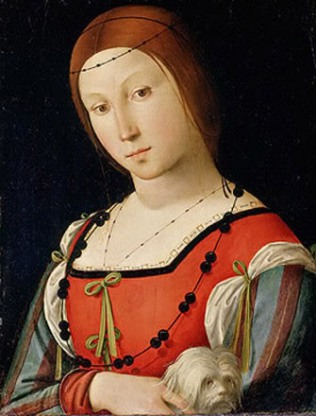 Woman with dog, ca. 1505 by Lorenzo Costa, 1460-1535 Location TBD