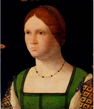 A Young Woman, ca. 1500 (attrib. Francesco Pietro Bissolo) (1478-1554) Los Angeles County Museum of Art, CA 53.28.17