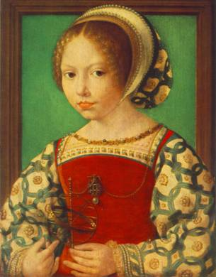 A Young Girl with Astronomical Instrument, ca. 1520 (Jan Gossaert/Mabuse) (1470-1532) The National Gallery, London