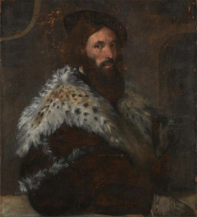 A Man, Girolamo Fracastoro?, ca. 1520's attributed to Titian, ca. 1488-1576 National Gallery, London NG3949