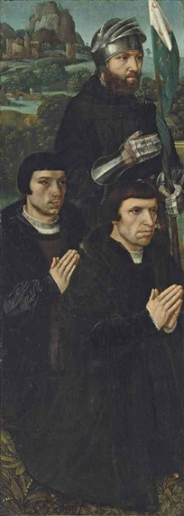 Donors with Saint WIlliam of Maleval ca 1530 left wing triptych  Christies December 3 2014
