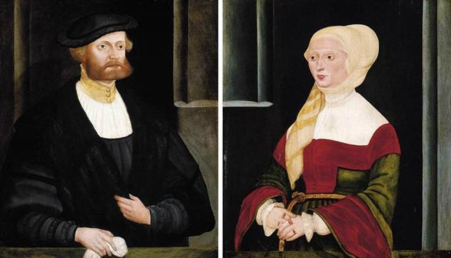 Gentleman and a Lady, ca. 1538   (Hans Schöpfer the Elder)   Private Collection