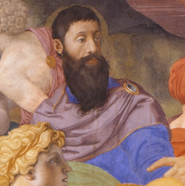 A Man probably Stefan IV Colonna ca 1545 by Bronzino detail of Crossing of Red Sea  Palazzo Vecchio Florence Chapel of Eleonora of Toledo