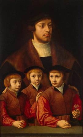 A Man with Three Sons, ca. late 1530's-early 1540's (Barthel Bruyn) (1493-1555) State Hermitage Museum, St. Petersburg