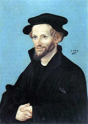 Philip Melanchthon, 1543  (Lucas Cranach the Elder)    (1472-1553)  Private Collection, Hamburg