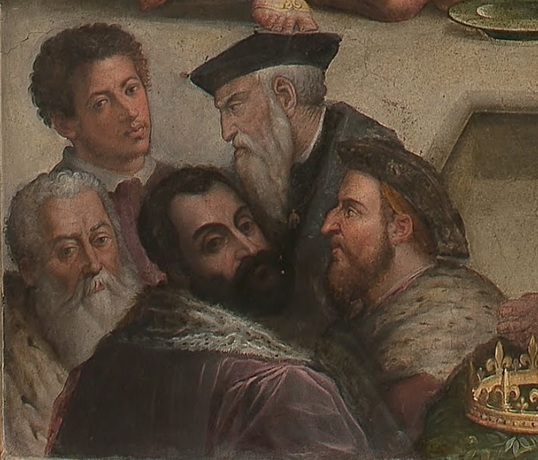 Alessandro Medici et al ca 1556-1562 by Giorgio Vasari 1511-1574 detail from Clement VII crowns Charles V at San Petronio in Bologna  Palazzo Vecchio Firenze  Room of Clement VII