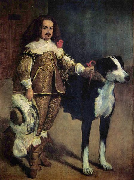 A Man with Dog ca 1550-1555 by Diego Velazquez or Juan Carreno de Miranda  Prado Museum