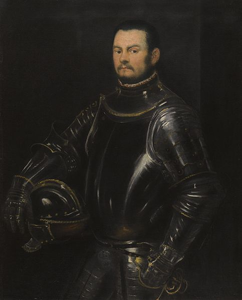 A Young Bearded Man Wearing Armor ca 1555 by Tintoretto 1518-1594  Location TBD