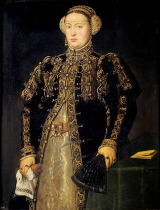 Catherine Hapsburg, Queen of Portugal, ca. 1552-1553   (Antonis Mor) (1520-1578)  Museo del Prado, Madrid     P02109