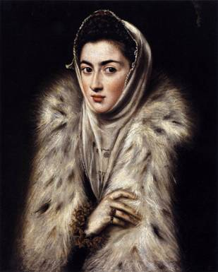 Lady in a Fur Wrap, possibly Catalina Michaela, ca. 1577-1580  (El Greco) (1541-1618)  Kelvingrove Art Gallery and Museum, Glasgow