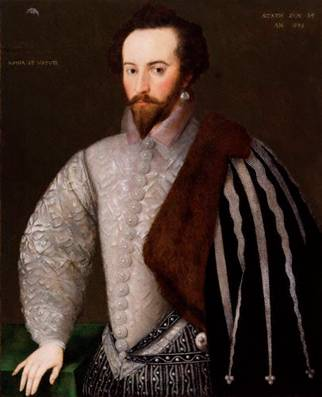 Sir Walter Raleigh at 35 years old, ca. 1588 (H Monogrammist)    National Portrait Gallery, London   7