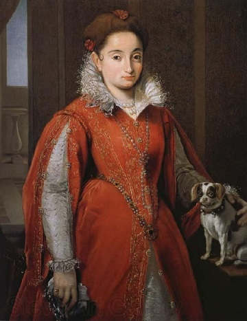 A Lady with a Dog, ca. 1585-1595 (attributed to Allesandro Allori) (1535-1607)   Location TBD