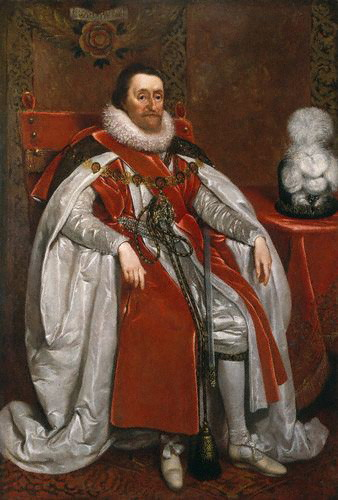 King James I of England and VI of Scotland, 1621  (Daniel Mytens) (1590-1647)   National Portrait Gallery, London,  NPG 109