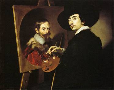 Self-Portrait with a Portrait on an Easel, 1624  (Nicolas Regnier) (1591-1667)  Fogg Museum, Harvard University, Cambridge,  MA