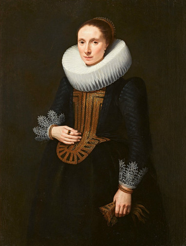 An Elegant Woman, ca. 1620-1625, by an Unknown Dutch Master,  Jean Moust Gallery, Bruges, Belgium      ***ORIGINAL PORTRAIT FOR SALE***  CLICK HERE TO ENQUIRE   24.700 €