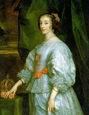 Henrietta Maria of France, ca. 1632  (Anthony van Dyck)    (1599-1641)  The Royal Collection, Windsor