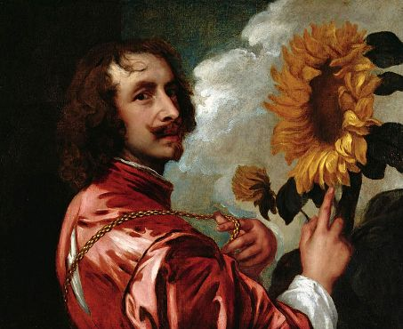 Self-Portrait with Sunflower, ca. 1633-1634 (Anthony van Dyck) (1599-1641) Private Collection Sotheby's