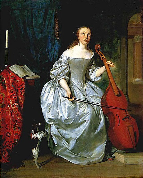 A Woman playing the Cello, 1663 (Gabriel Metsu) (1629-1667)  Location TBD