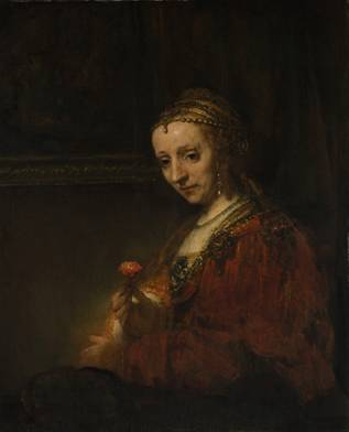 A Woman with a Pink,  ca. 1660-1664  (Rembrandt) (1606-1669)   The Metropolitan Museum of Art, New York, NY           14.40.622
