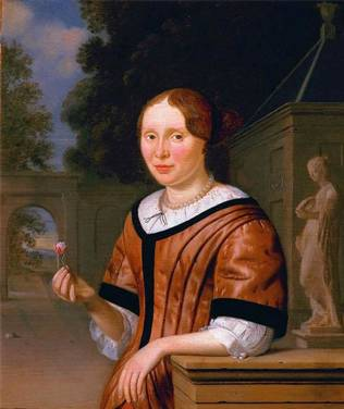 A Lady, ca. 1670's (Pieter Cornelisz. Van Slingelandt) (1640-1691) Private Collection
