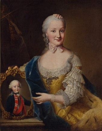 Margravine Friederike of Brandenburg-Schwedt, Duchess of Württemberg with her son Frederick I William Charles, ca. 1759 (Johann Georg Ziesenis) (1716-1777)  Landesmuseum Württemberg