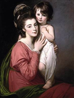 Mrs Henrietta Morris and Her Son John, ca. 1777  (George Romney) (1734-1802)    Private Collection