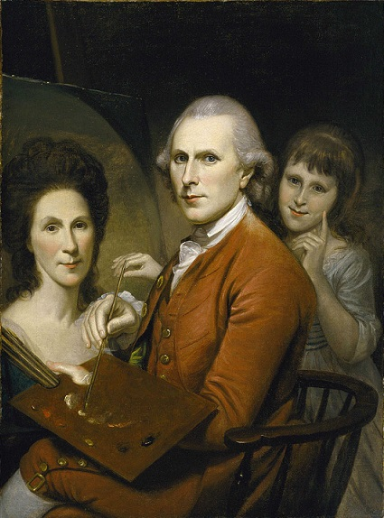 Self-Portrait with wife Rachel and daughter Angelica, ca. 1782-1785 (Charles Willson Peale) (1741-1827)  Museum of Fine Arts, Houston,  B.60.49