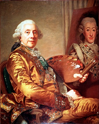 Self-Portrait with King Gustav III of Sweden on easel, 1790 (Alexander Roslin) (1718-1793)  Malmö Konstmuseum, MMK 000891