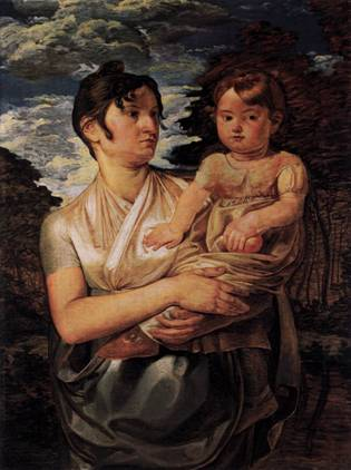 Artists Wife and Son, ca. 1807 (Philipp Otto Runge) (1777-1810)   Alte Nationalgalerie, Berlin