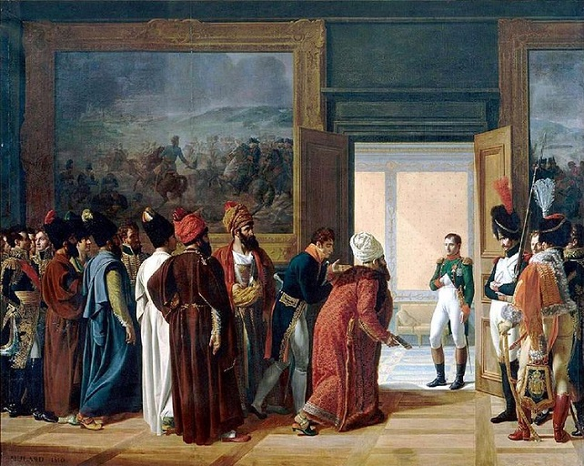 The Persian Envoy Mirza Mohammed Reza-Qazvini meets with Napoleon at Finckenstein Palace - East Prussia (4/27) painted in 1810 by Francois Mulard