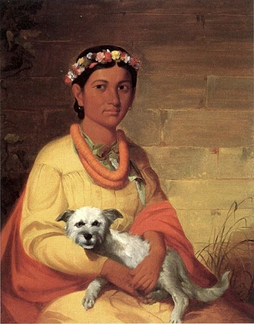 A Hawaiian Girl with dog, 1849 (John Mix Stanley) (1814-1872) Bernice P. Bishop Museum, Honolulu, HI