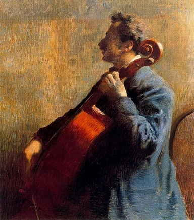 A Man Playing The Cello, 1879 (Federico Zandomeneghi) (1841-1917) Location TBD