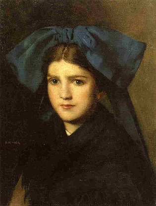 A Young Girl with a Bow, ca. 1870 (Jean-Jacques Henner) (1829-1905) Private Collection