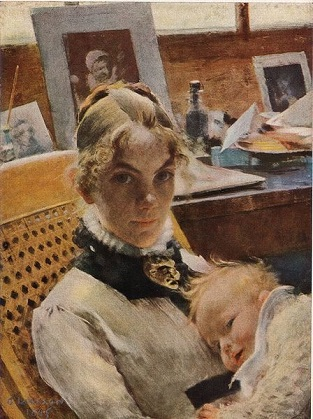 The Artist's Wife and daughter Suzanne, 1885 (Carl Larsson) (1853-1919) Nationalmuseum Stockholm