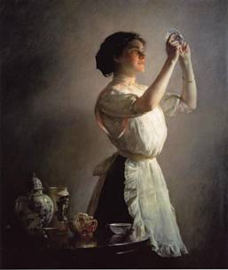"A Young Woman, ""The Blue Cup"", ca. 1909 (Joseph Decamp) (1858-1923)    Location TBD"