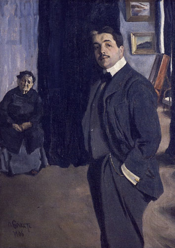Sergei Diaghilev and his nanny, 1906 (Léon Bakst) (1866-1924)   State Russian Museum, St. Petersburg