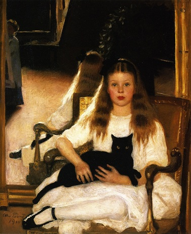 A Girl with a black cat, 1910 (Ellen Emmett Rand) (1875-1941)   William Benton Museum of Art, Storrs, CT