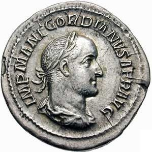 Gordian II, Roman Emperor ca. 238,    (Photo: Classical Numismatic Group, Lancaster, PA)